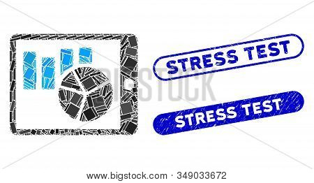 Mosaic Charts On Pda And Rubber Stamp Seals With Stress Test Text. Mosaic Vector Charts On Pda Is Fo