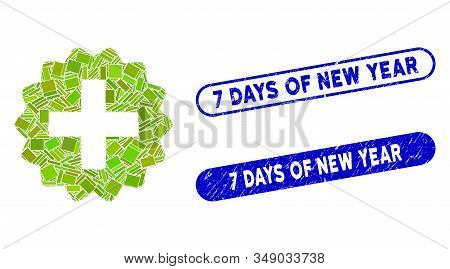 Mosaic New And Corroded Stamp Seals With 7 Days Of New Year Caption. Mosaic Vector New Is Composed W