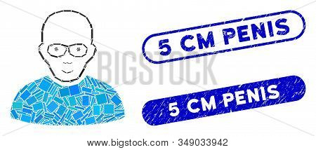 Mosaic Bald Man And Grunge Stamp Watermarks With 5 Cm Penis Caption. Mosaic Vector Bald Man Is Desig