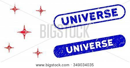 Mosaic Space Stars And Corroded Stamp Seals With Universe Caption. Mosaic Vector Space Stars Is Form