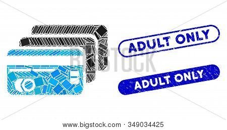 Mosaic Banking Cards And Rubber Stamp Seals With Adult Only Phrase. Mosaic Vector Banking Cards Is D