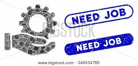 Mosaic Service Gear And Rubber Stamp Watermarks With Need Job Caption. Mosaic Vector Service Gear Is