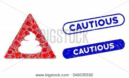 Mosaic Shit Danger And Rubber Stamp Watermarks With Cautious Phrase. Mosaic Vector Shit Danger Is Co