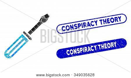 Mosaic Screwdriver And Distressed Stamp Seals With Conspiracy Theory Text. Mosaic Vector Screwdriver