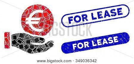 Mosaic Euro Coin Payment And Rubber Stamp Watermarks With For Lease Text. Mosaic Vector Euro Coin Pa