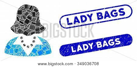 Mosaic Lady And Corroded Stamp Seals With Lady Bags Phrase. Mosaic Vector Lady Is Composed With Rand
