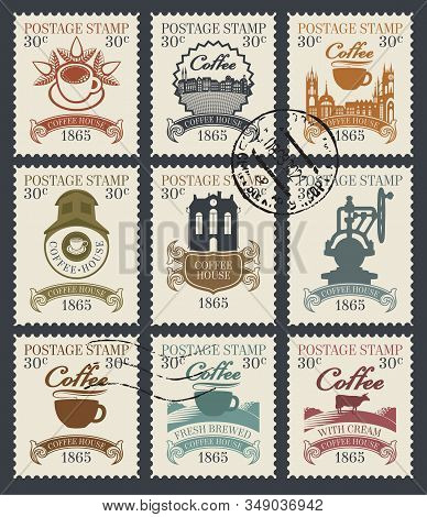 Vector Set Of Old Postage Stamps On The Theme Of Coffee And Coffee House. Philatelic Collection Of S