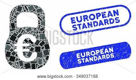 Mosaic Euro Weight And Rubber Stamp Seals With European Standards Phrase. Mosaic Vector Euro Weight