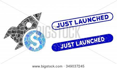 Mosaic Business Startup Rocket And Rubber Stamp Seals With Just Launched Phrase. Mosaic Vector Busin