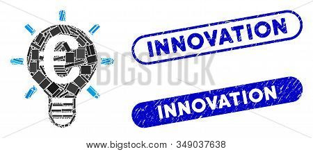 Mosaic Euro Innovation And Corroded Stamp Seals With Innovation Caption. Mosaic Vector Euro Innovati