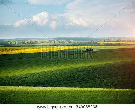 Tractor spraying pesticides on soybean field at springtime on a sunny day. Location place of Ukraine, Europe. Scenic image of agrarian industry. Photo of ecology concept. Beauty of earth.