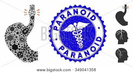 Microbe Mosaic Esophageal Cancer Icon And Round Distressed Stamp Seal With Paranoid Caption And Heal