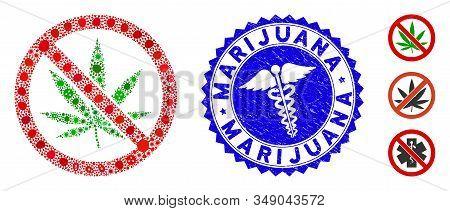 Biohazard Mosaic No Marijuana Icon And Round Distressed Stamp Seal With Marijuana Caption And Caduce