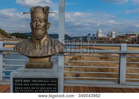 Daejeon, South Korea; January 30, 2020: Bronze Bust Of Jang Yeong-sil (1390 -1450), Korean Engineer,