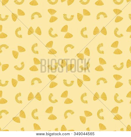 A Yellow Pasta Pieces Seamless Vector Pattern. Food Themed Surface Print Design. Great For Novelty F