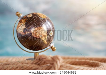 Planet Earth Globe, Map Of The Earth's Surface, North America And South America. Continents And Ocea