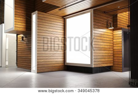 Empty Abstract Open Interior Of A Home Apartment Or Business Commercial Area With Wood Modern Accent