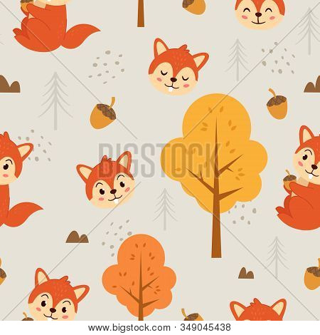 Vector Seamless Pattern Cute Squirrel, Adorable Little Squirrel Seamless Pattern. Vector Cute Animal