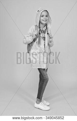 Waterproof Cloak. Waterproof Fabric For Your Comfort. Rainproof Accessory. Schoolgirl Hooded Raincoa