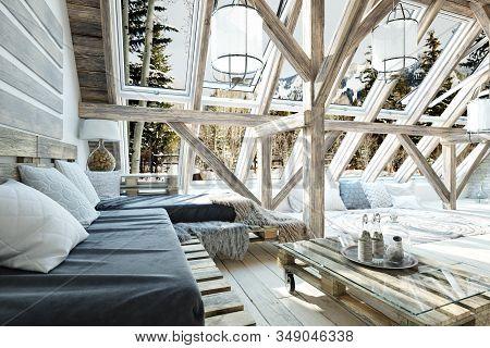 Rustic Open Floor Interior Room Concept Design With Winter Scenic Background. 3d Rendering.
