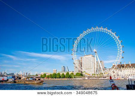 London, Uk. May 10, 2019. London Morning. London Eye, County Hall, Westminster Bridge, Big Ben And H