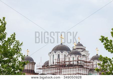 Roofs And Cupola Of A Serbian Orthodox Church Under Construction In The Suburbs Of Belgrade, Serbia,