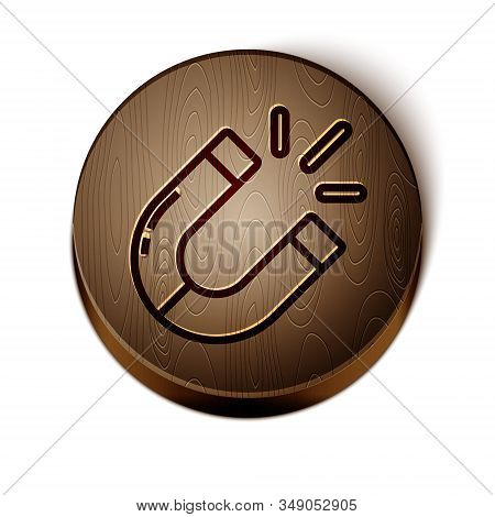Brown Line Magnet Icon Isolated On White Background. Horseshoe Magnet, Magnetism, Magnetize, Attract