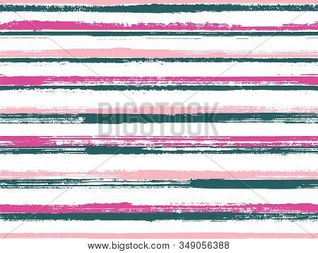 Grunge Stripes Seamless Vector Background Pattern. Rough Texture Lines Pattern. Dry Paintbrush Strip