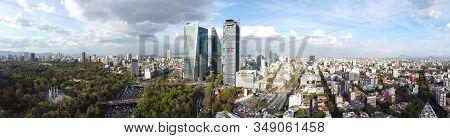 Modern Buildings On Avenue Paseo De La Reforma Panorama Aerial View In Mexico City Cdmx, Mexico.