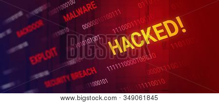 Hacked Data Concept. Data Unsafe, Computer Crime, Security Breach. Words And Binary Code, Depth Of F