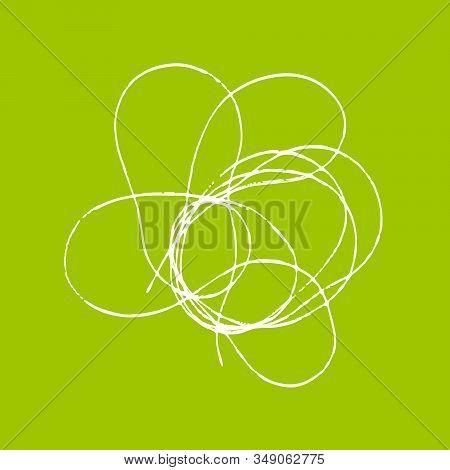 Tangled Threads. Thread Scribble Petals, Flower, Spot For Spring Season. Outline Abstract Scrawl Ske