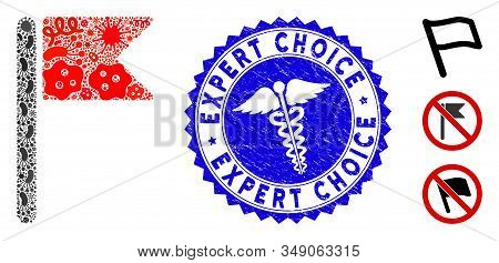 Pathogen Collage Flag Icon And Round Distressed Stamp Seal With Expert Choice Phrase And Caduceus Sy