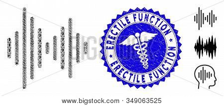 Contagious Collage Audio Signal Icon And Round Grunge Stamp Seal With Erectile Function Caption And