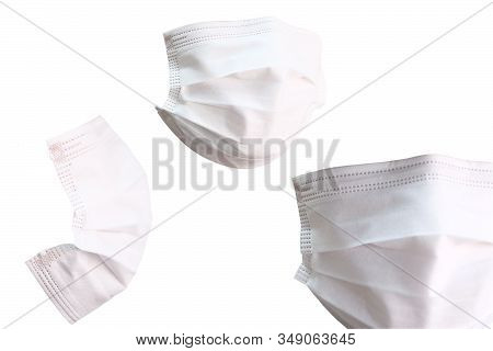 Set Of Surgical Mask On White Background.