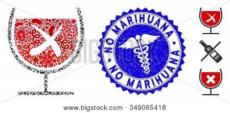 Infected Mosaic No Wine Drinking Icon And Rounded Corroded Stamp Seal With No Marihuana Caption And