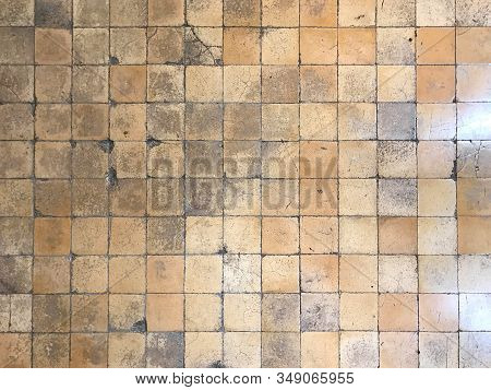 Ancient Vintage Cracked Square Brown Tile Wall Or Floor For Background And Texture