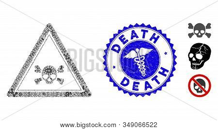 Flu Mosaic Skull Death Triangle Icon And Round Rubber Stamp Seal With Death Caption And Medical Icon