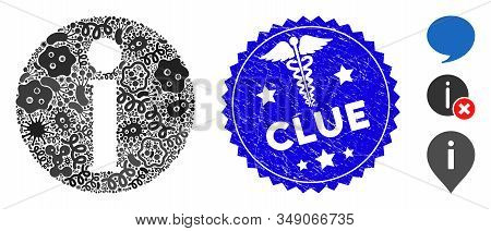 Epidemic Mosaic Info Icon And Rounded Grunge Stamp Seal With Clue Text And Healthcare Icon. Mosaic V