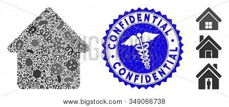 Infectious Mosaic Cabin Icon And Rounded Grunge Stamp Seal With Confidential Text And Healthcare Sig