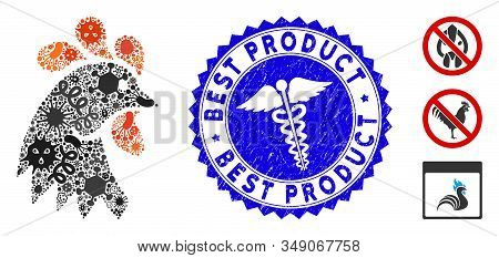 Outbreak Mosaic Rooster Head Icon And Rounded Distressed Stamp Watermark With Best Product Text And