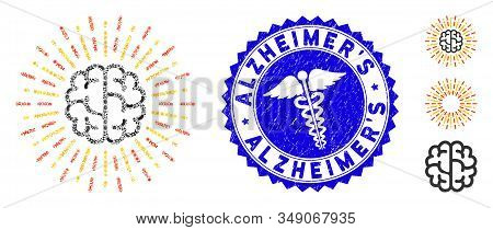 Infectious Mosaic Brain Radiance Icon And Round Distressed Stamp Seal With Alzheimers Phrase And Ser