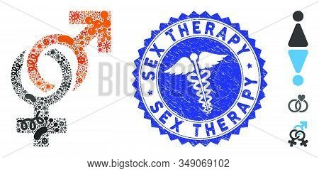 Contagious Collage Sexual Symbols Icon And Round Rubber Stamp Seal With Sex Therapy Text And Serpent
