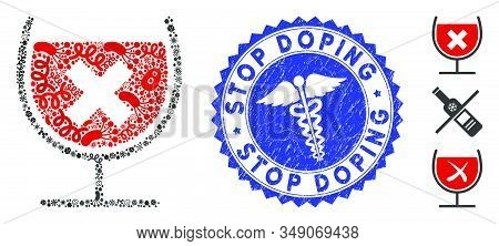 Microbe Mosaic Stop Drink Wine Icon And Round Rubber Stamp Seal With Stop Doping Caption And Health