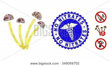 Biohazard Mosaic Mushrooms Icon And Round Grunge Stamp Watermark With No Nitrates Caption And Clinic