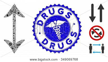 Pandemic Mosaic Swap Vertically Icon And Rounded Rubber Stamp Watermark With Drugs Phrase And Medici
