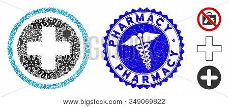 Outbreak Mosaic Pharmacy Icon And Rounded Corroded Stamp Seal With Pharmacy Text And Health Care Ico