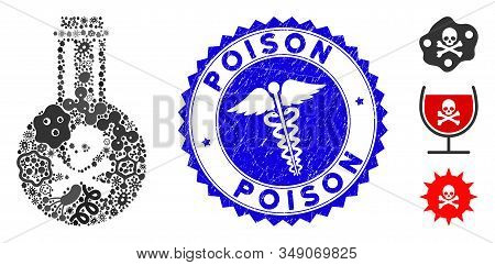 Pandemic Mosaic Poison Icon And Rounded Distressed Stamp Seal With Poison Phrase And Serpents Icon.