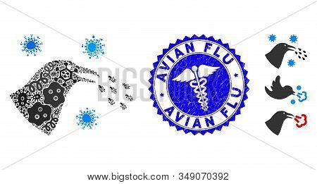 Flu Mosaic Bird Flu Infection Icon And Rounded Distressed Stamp Seal With Avian Flu Phrase And Clini