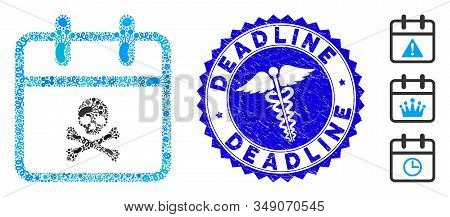 Epidemic Mosaic Skull Deadline Day Icon And Rounded Rubber Stamp Seal With Deadline Caption And Doct