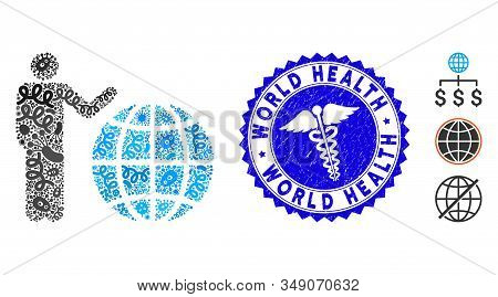 Contagion Mosaic Global Marketing Icon And Rounded Corroded Stamp Seal With World Health Phrase And